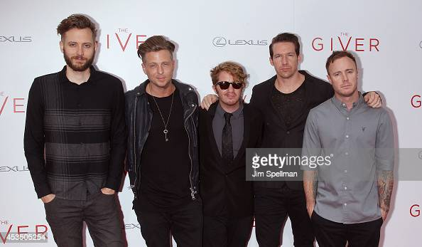 Brent Kutzle Ryan Tedder Drew Brown Zach Filkins and Eddie Fisher of OneRepublic attend 'The Giver' premiere at Ziegfeld Theater on August 11 2014 in...