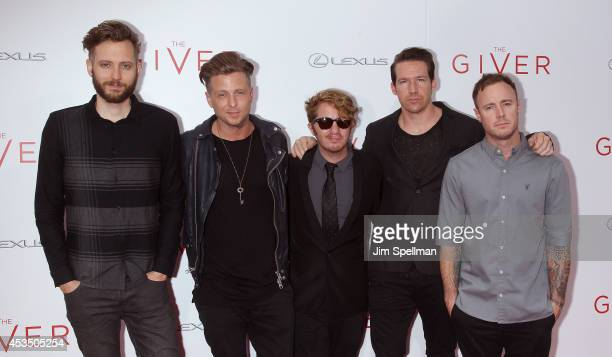 Brent Kutzle Ryan Tedder Drew Brown Zach Filkins and Eddie Fisher of OneRepublic attend 'The Giver' premiere at Ziegfeld Theater on August 11 2014 in...