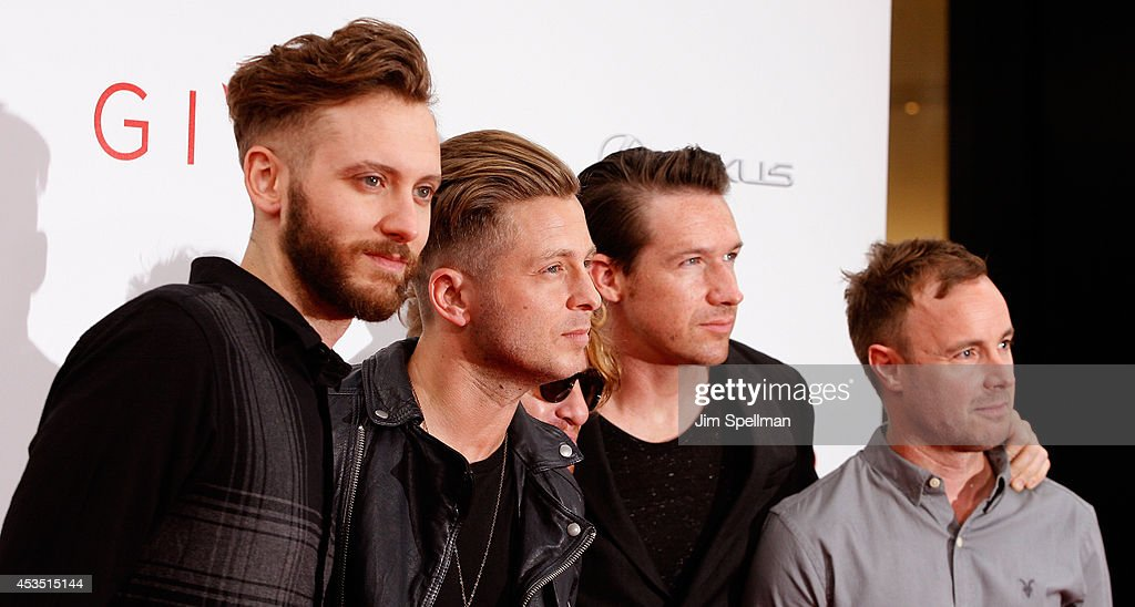 Brent Kutzle, Ryan Tedder, Drew Brown, Zach Filkins and Eddie Fisher of OneRepublic attend 'The Giver' premiere at Ziegfeld Theater on August 11, 2014 in New York City.