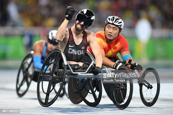 Brent Lakatos of Canada celebrates after winning the men's 100m T53 final on day 2 of the Rio 2016 Paralympic Games at Olympic Stadium on September 9...