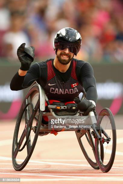 Brent Lakatos of Canada celebrates winning the gold in the Men's 200m T53 Final during Day Three of the IPC World ParaAthletics Championships 2017...
