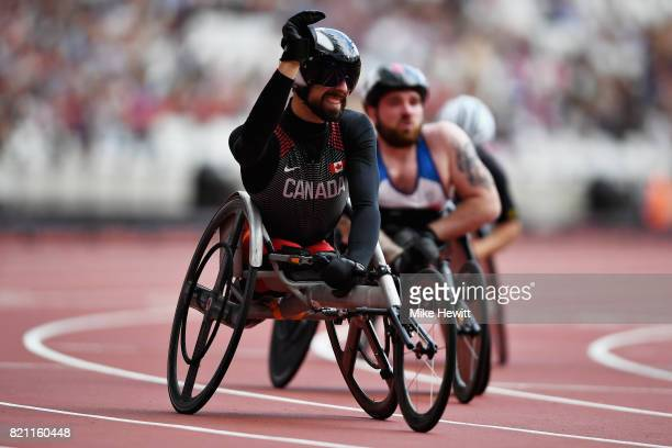 Brent Lakatos of Canada crosses the line to win in the Mens 100m T53 final during day ten of the IPC World ParaAthletics Championships 2017 at London...