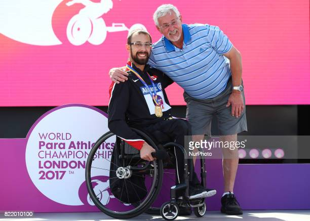 Brent Lakatos of Canada Gold Medal gets congratulation from his Father Men's 800m T53 Final during World Para Athletics Championships at London...