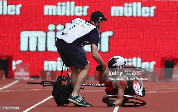 Brent Lakatos of Canada is caught up in an accident during the Mens 1500m T54 race during day two of the Muller Anniversary Games at The Stadium...