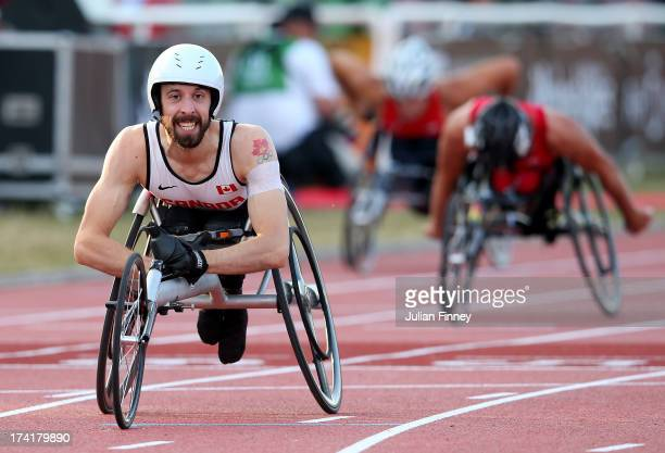 Brent Lakatos of Canada wins in the Men's 400m T53 final during day two of the IPC Athletics World Championships on July 21 2013 in Lyon France