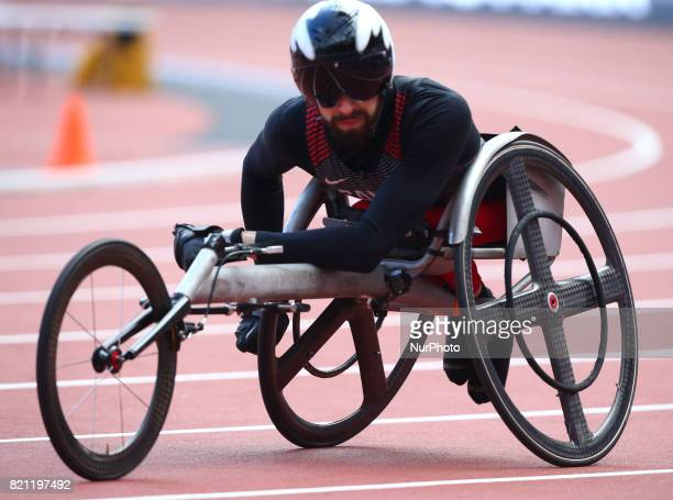 Brent Laktos of Canada after Men's 100m T53 Round 1 Heat 1 during World Para Athletics Championships at London Stadium in London on July 23 2017
