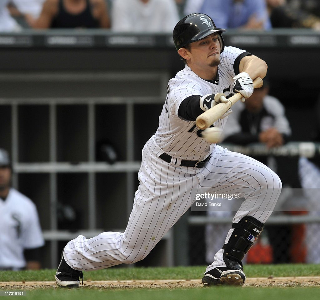 <a gi-track='captionPersonalityLinkClicked' href=/galleries/search?phrase=Brent+Lillibridge&family=editorial&specificpeople=4164757 ng-click='$event.stopPropagation()'>Brent Lillibridge</a> # 18 of the Chicago White Sox bunts against the Washington Nationals on June 25, 2011 at U.S. Cellular Field in Chicago, Illinois. The White Sox defeated the Nationals 3-0.