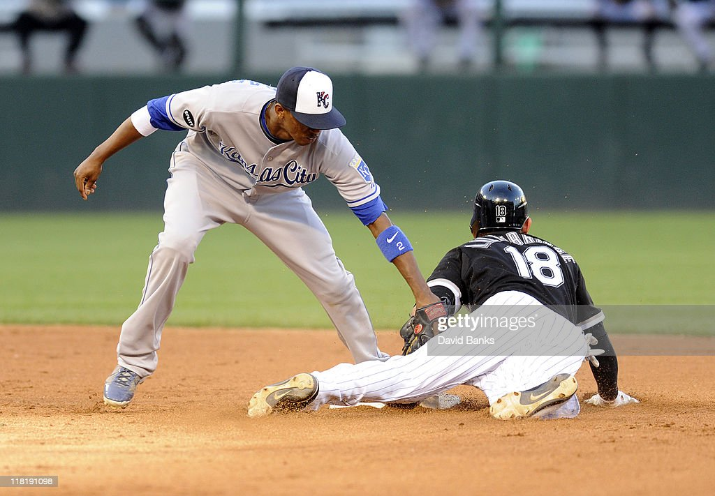 <a gi-track='captionPersonalityLinkClicked' href=/galleries/search?phrase=Brent+Lillibridge&family=editorial&specificpeople=4164757 ng-click='$event.stopPropagation()'>Brent Lillibridge</a> # 18 of the Chicago White Sox steals second base as Alcides Escoba #2 of the Kansas City Royals tags him on July 4, 2011 at U.S. Cellular Field in Chicago, Illinois.
