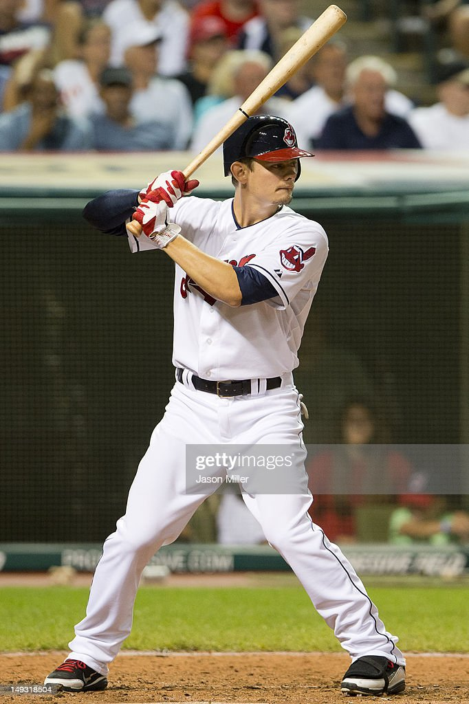 <a gi-track='captionPersonalityLinkClicked' href=/galleries/search?phrase=Brent+Lillibridge&family=editorial&specificpeople=4164757 ng-click='$event.stopPropagation()'>Brent Lillibridge</a> #1 of the Cleveland Indians at bat during the eighth inning against the Detroit Tigers at Progressive Field on July 26, 2012 in Cleveland, Ohio. The Indians defeated the Tigers 5-3.