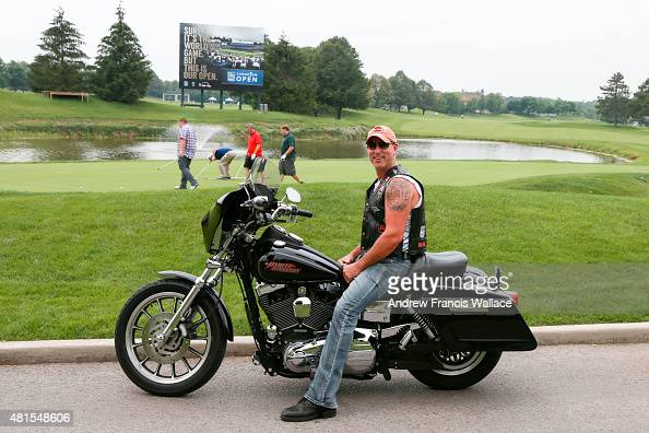 Brent McLaughlin with his Harley Davidson at the 18th green of Glen Abbey golf club July 9 2015 For profile of McLaughlin the new tournament director...