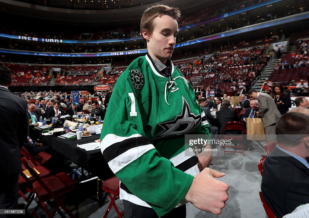 Brent Moran meets his team after being drafted #115 by the Dallas Stars on Day Two of the 2014 NHL Draft at the Wells Fargo Center on June 28, 2014 in Philadelphia, Pennsylvania.