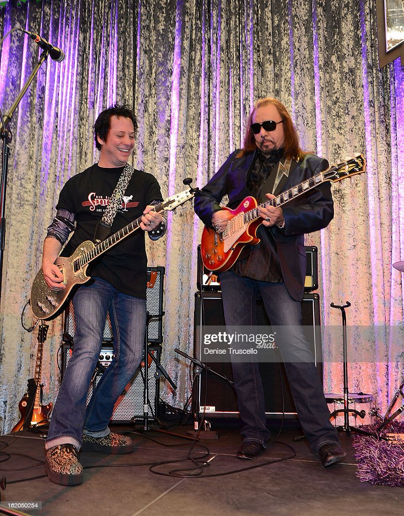 Brent Muscat and <a gi-track='captionPersonalityLinkClicked' href=/galleries/search?phrase=Ace+Frehley&family=editorial&specificpeople=226761 ng-click='$event.stopPropagation()'>Ace Frehley</a> during Rock 'n' Roll Fantasy Camp in Las Vegas on February 18, 2013 in Las Vegas, Nevada.
