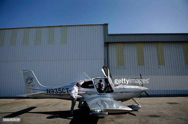 MONICA CA – SEPTEMBER 3 2008– Brent Neville VP flight operations for Miwok Airways climbs aboard the SR22 GTS Turbo by Cirrus which will be the...