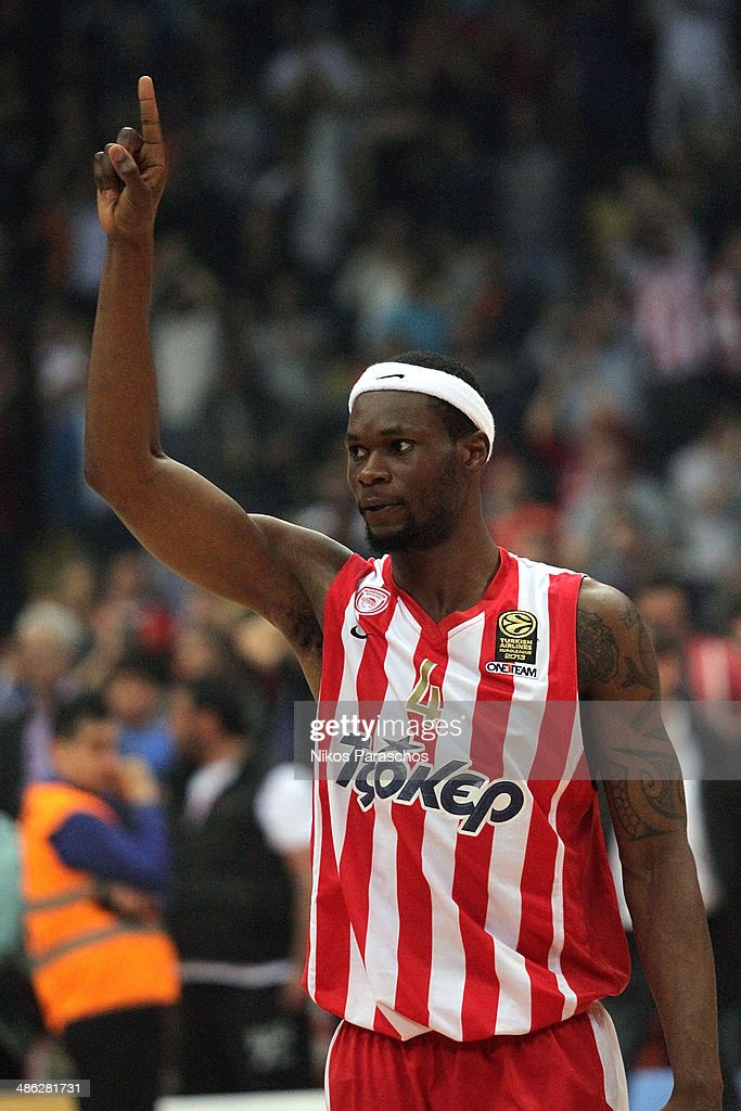 Brent Petway, #4 of Olympiacos Piraeus react during the Turkish Airlines Euroleague Basketball Play Off Game 4 between Olympiacos Piraeus v Real Madrid at Peace and Friendship Stadium on April 23, 2014 in Athens, Greece.