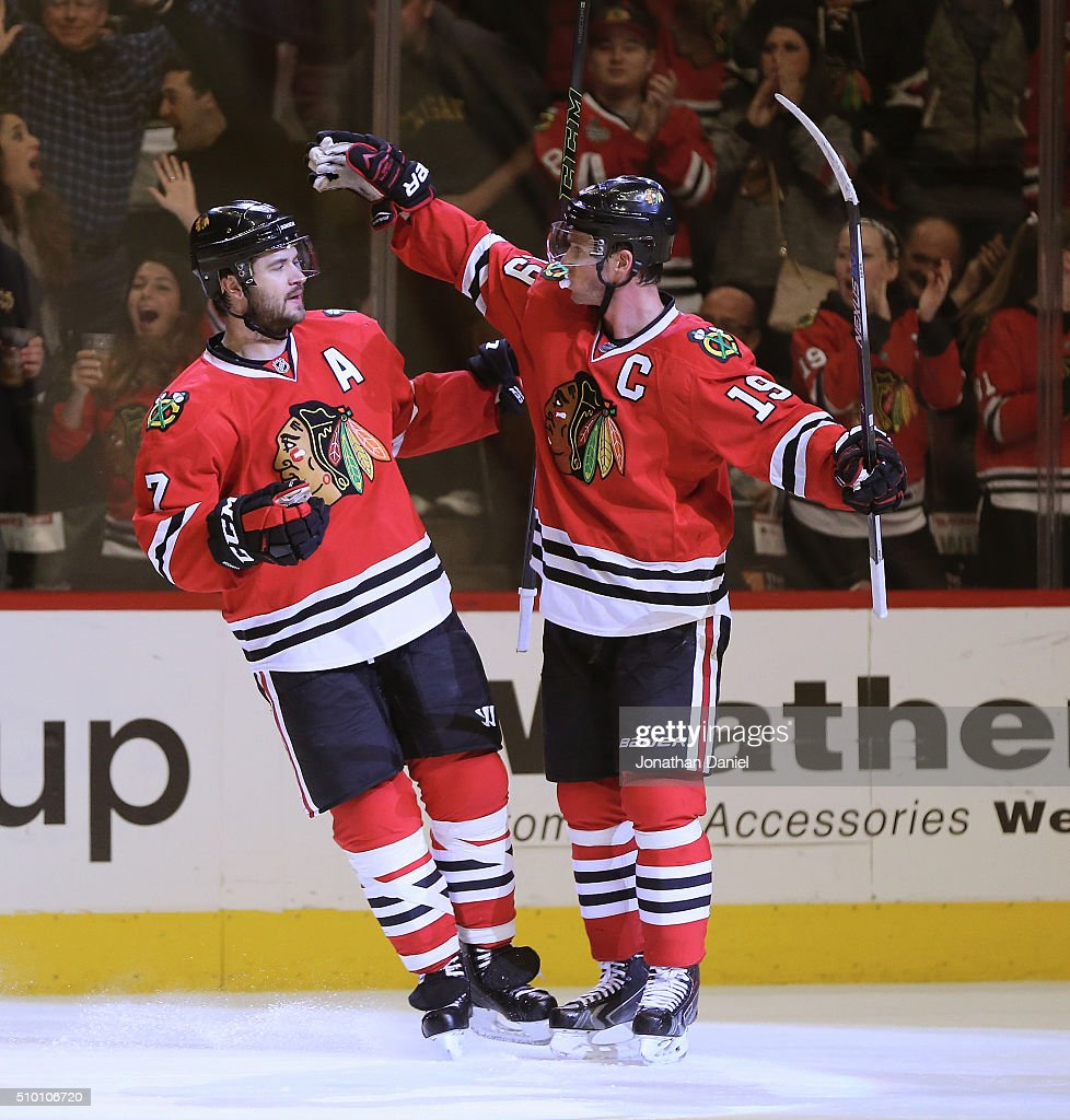 <a gi-track='captionPersonalityLinkClicked' href=/galleries/search?phrase=Brent+Seabrook&family=editorial&specificpeople=638862 ng-click='$event.stopPropagation()'>Brent Seabrook</a> #7 and <a gi-track='captionPersonalityLinkClicked' href=/galleries/search?phrase=Jonathan+Toews&family=editorial&specificpeople=537799 ng-click='$event.stopPropagation()'>Jonathan Toews</a> #19 of the Chicago Blackhawks celebrate a second period goal by Seabrook against the Anaheim Ducks at the United Center on February 13, 2016 in Chicago, Illinois.