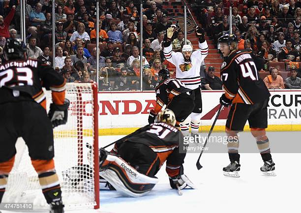 Brent Seabrook of the Chicago Blackhawks celebrates his goal against Frederik Andersen of the Anaheim Ducks in the second period of Game Five of the...