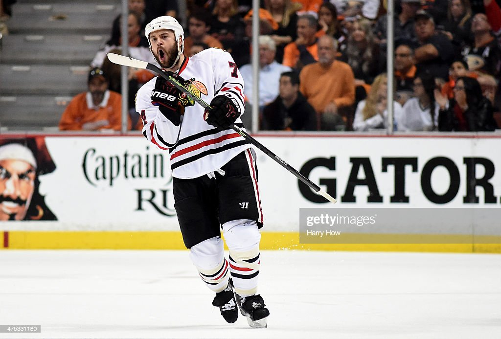 <a gi-track='captionPersonalityLinkClicked' href=/galleries/search?phrase=Brent+Seabrook&family=editorial&specificpeople=638862 ng-click='$event.stopPropagation()'>Brent Seabrook</a> #7 of the Chicago Blackhawks celebrates his third period goal against the Anaheim Ducks in Game Seven of the Western Conference Finals during the 2015 NHL Stanley Cup Playoffs at the Honda Center on May 30, 2015 in Anaheim, California.