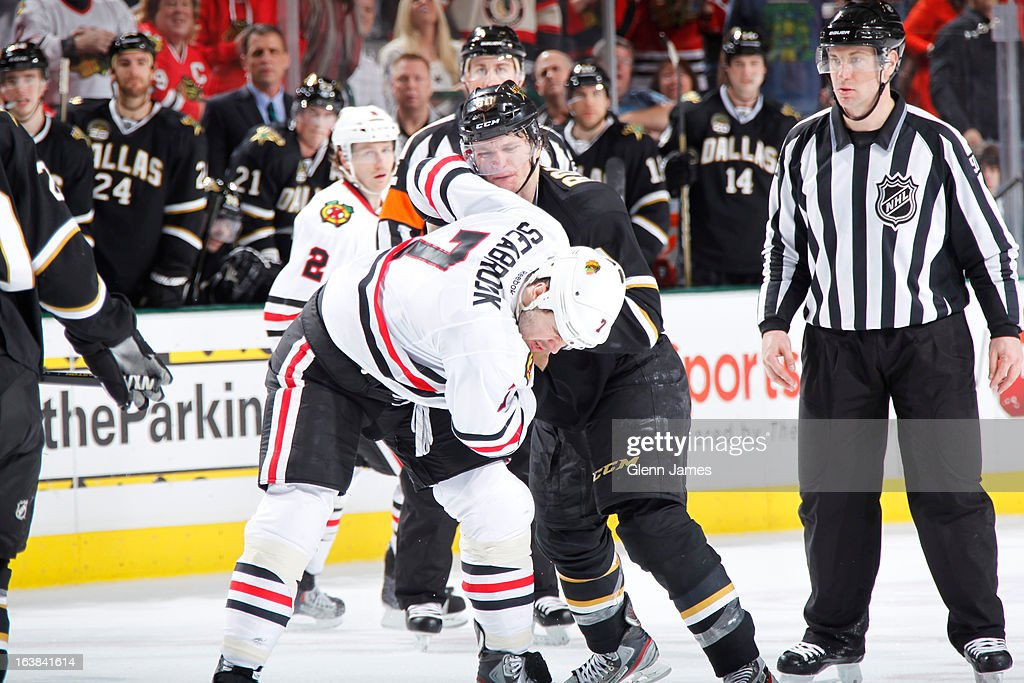 <a gi-track='captionPersonalityLinkClicked' href=/galleries/search?phrase=Brent+Seabrook&family=editorial&specificpeople=638862 ng-click='$event.stopPropagation()'>Brent Seabrook</a> #7 of the Chicago Blackhawks gets physical against <a gi-track='captionPersonalityLinkClicked' href=/galleries/search?phrase=Antoine+Roussel&family=editorial&specificpeople=4202700 ng-click='$event.stopPropagation()'>Antoine Roussel</a> #60 of the Dallas Stars at the American Airlines Center on March 16, 2013 in Dallas, Texas.