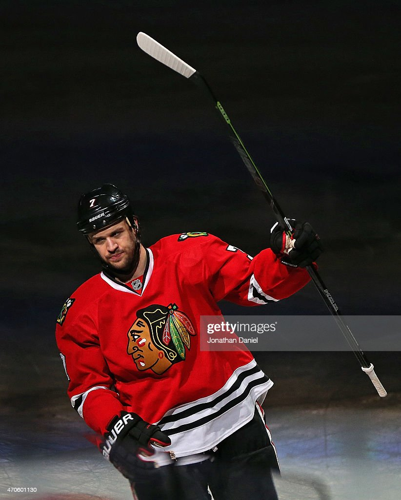 Brent Seabrook #7 of the Chicago Blackhawks salutes the crowd after scoring the game winning goal in triple overtime against the Nashville Predators in Game Four of the Western Conference Quarterfinals during the 2015 NHL Stanley Cup Playoffs at the United Center on April 21, 2015 in Chicago, Illinois. The Blackhawks defeated the Predators 3-2 in the third overtime.
