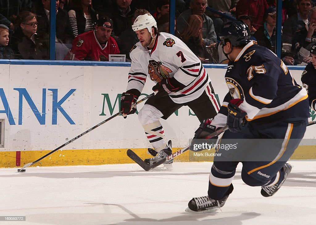 <a gi-track='captionPersonalityLinkClicked' href=/galleries/search?phrase=Brent+Seabrook&family=editorial&specificpeople=638862 ng-click='$event.stopPropagation()'>Brent Seabrook</a> #7 of the Chicago Blackhawks skates against the St. Louis Blues in an NHL game on February 28, 2013 at Scottrade Center in St. Louis, Missouri.