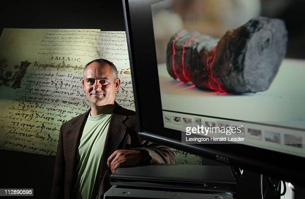 Brent Seales professor of engineering in the University of Kentucky's computer science department will use an XRay CT scanning system to collect...