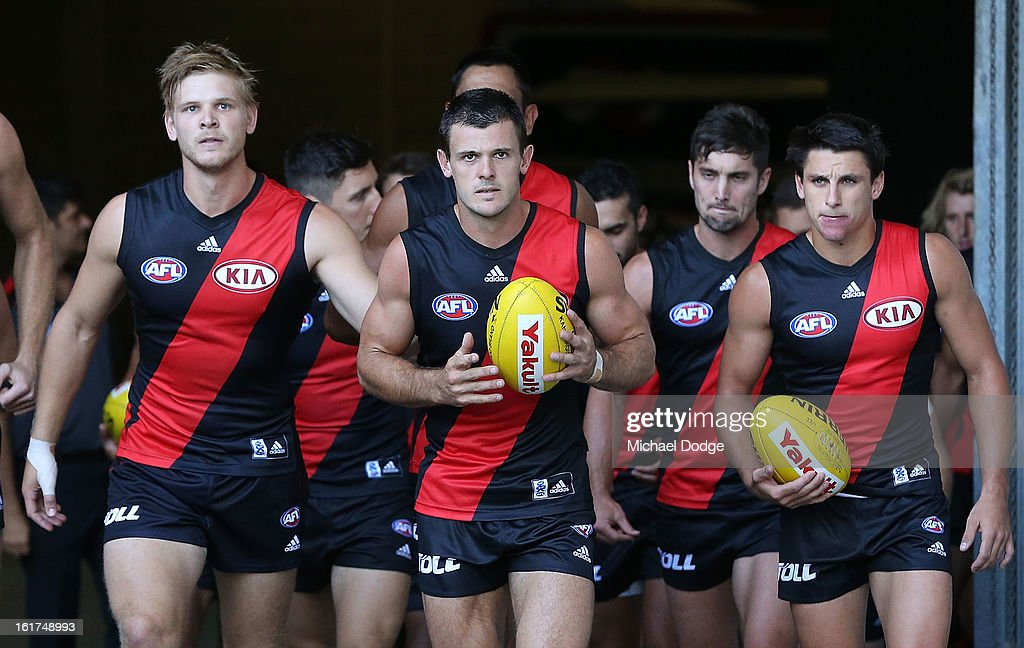 <a gi-track='captionPersonalityLinkClicked' href=/galleries/search?phrase=Brent+Stanton&family=editorial&specificpeople=234867 ng-click='$event.stopPropagation()'>Brent Stanton</a> leads the team out onto the field during the round one AFL NAB Cup match between the Essendon Bombers and the Western Bulldogs at Etihad Stadium on February 15, 2013 in Melbourne, Australia.