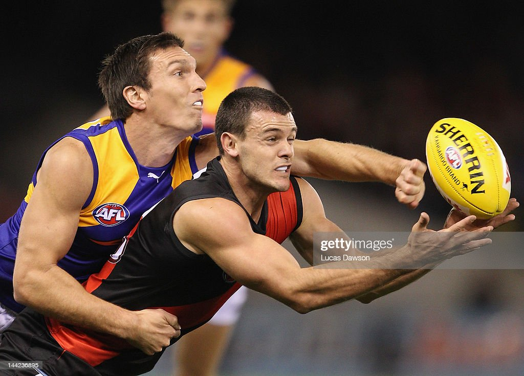 <a gi-track='captionPersonalityLinkClicked' href=/galleries/search?phrase=Brent+Stanton&family=editorial&specificpeople=234867 ng-click='$event.stopPropagation()'>Brent Stanton</a> of the Bombers attempts a mark during the round seven AFL match between the Essendon Bombers and the West Coast Eagles at Etihad Stadium on May 12, 2012 in Melbourne, Australia.