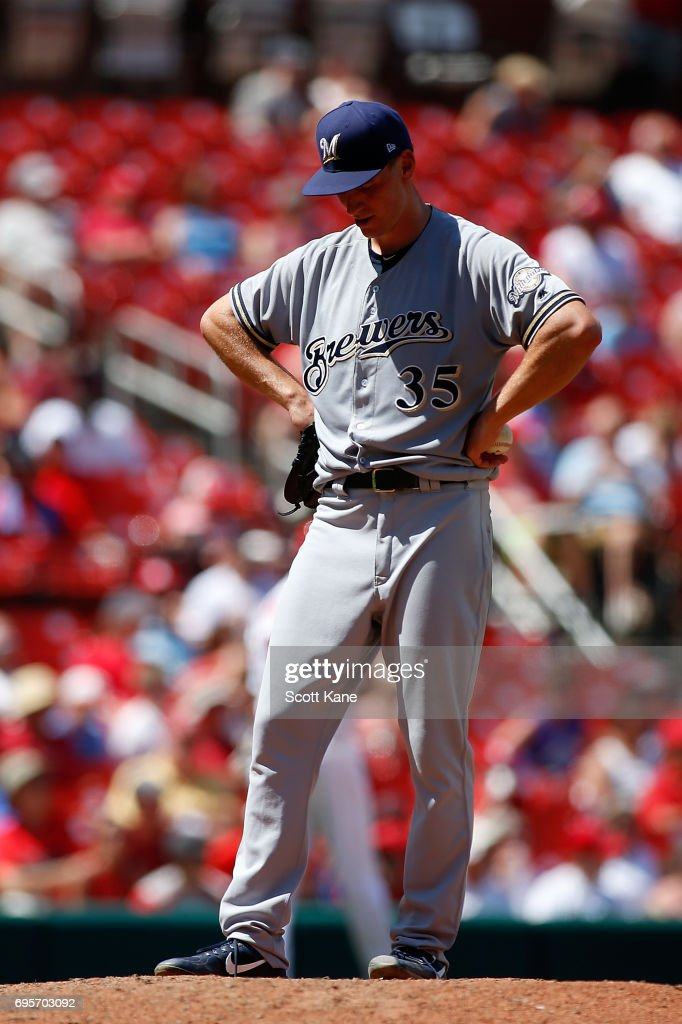 Brent Suter #35 of the Milwaukee Brewers pauses on the mound during the fifth inning against the St. Louis Cardinals at Busch Stadium on June 13, 2017 in St. Louis, Missouri.