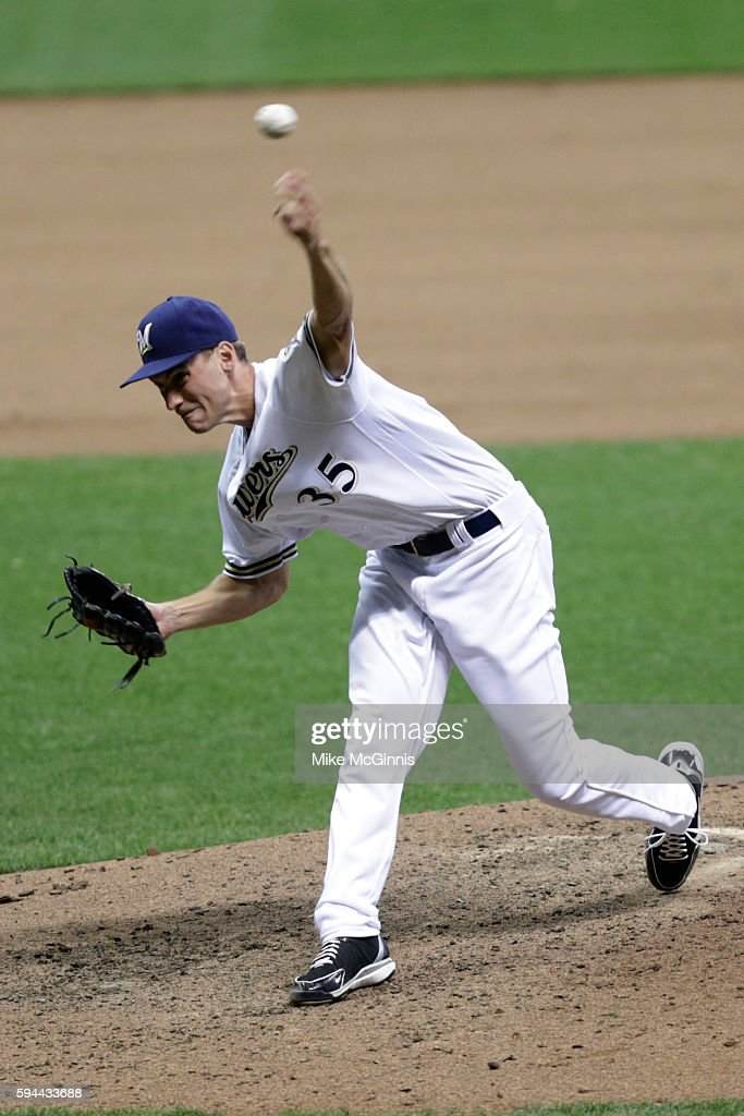 Brent Suter of the Milwaukee Brewers pitches during the seventh inning against the Colorado Rockies at Miller Park on August 23 2016 in Milwaukee...