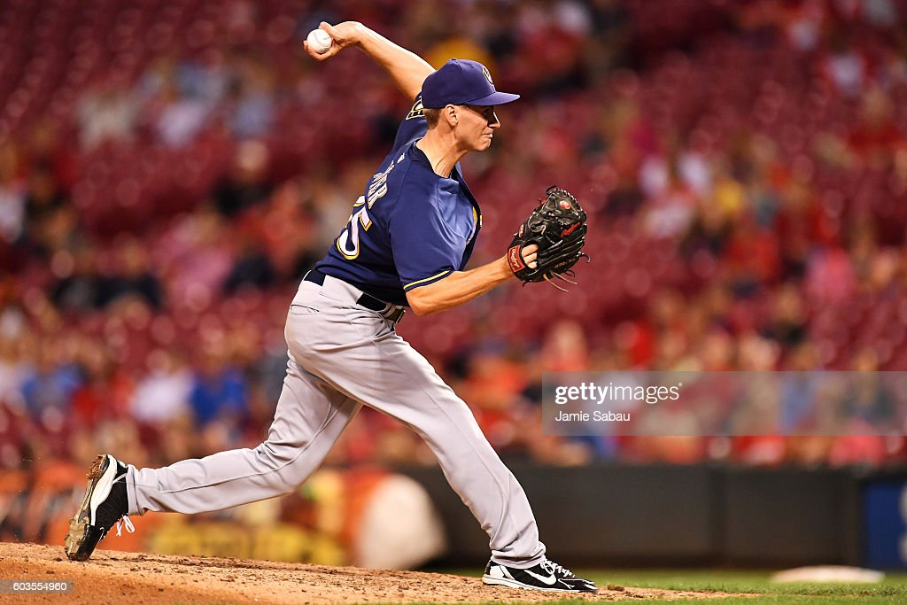 Brent Suter #35 of the Milwaukee Brewers pitches in the eighth inning against the Cincinnati Reds at Great American Ball Park on September 12, 2016 in Cincinnati, Ohio. Cincinnati defeated Milwaukee 3-0.
