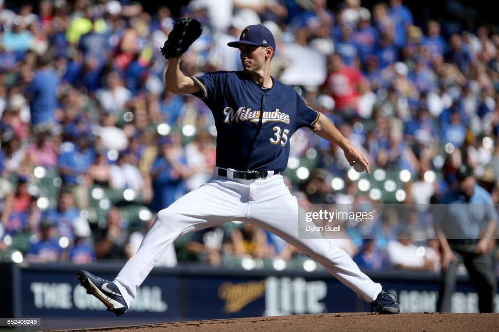 Brent Suter #35 of the Milwaukee Brewers pitches in the first inning against the Chicago Cubs at Miller Park on September 23, 2017 in Milwaukee, Wisconsin.
