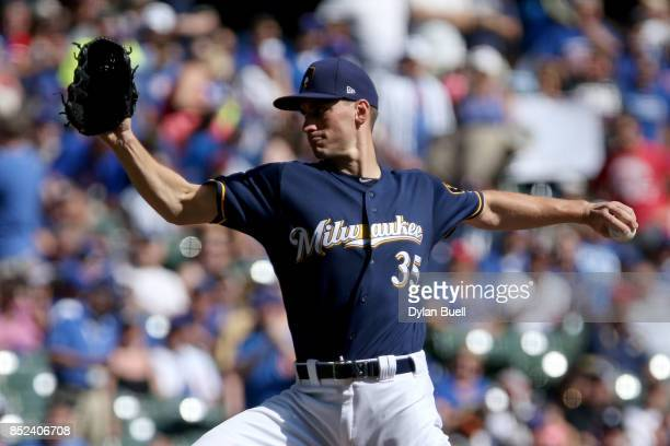 Brent Suter of the Milwaukee Brewers pitches in the first inning against the Chicago Cubs at Miller Park on September 23 2017 in Milwaukee Wisconsin