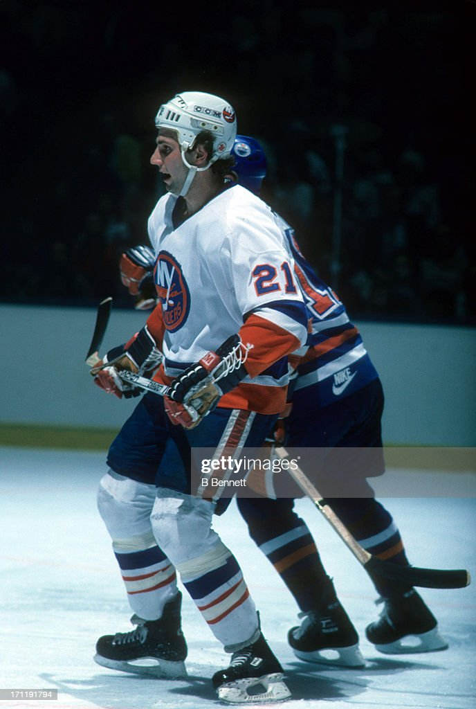 <a gi-track='captionPersonalityLinkClicked' href=/galleries/search?phrase=Brent+Sutter&family=editorial&specificpeople=1045160 ng-click='$event.stopPropagation()'>Brent Sutter</a> #21 of the New York Islanders skates on the ice during the 1984 Stanley Cup Finals against the Edmonton Oilers in May, 1984 at the Nassau Coliseum in Uniondale, New York.