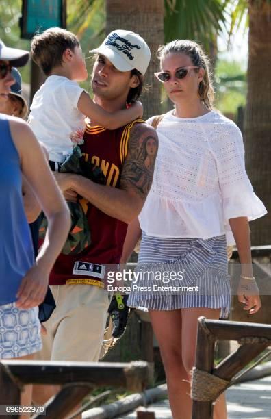 Brentford football player Jota Peleteiro his wife the model Jessica Bueno and their son Jota Peleteiro jr are seen on June 15 2017 in Marbella Spain
