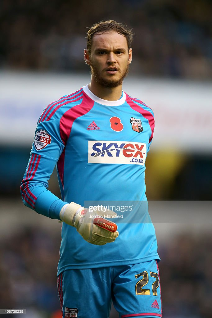Brentford goalkeeper David Button looks on during the Sky Bet Championship match between Millwall and Brentford at The Den on November 8, 2014 in London, England.