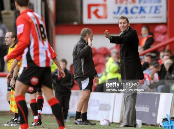Brentford manager Andy Scott gives instructions from the touchline during the CocaCola League Two match at Griffin Park Brentford