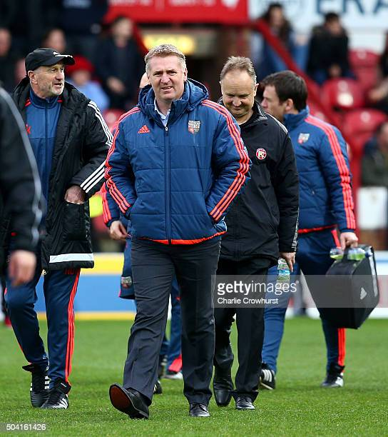 Brentford manager Dean Smith during the FA Cup Third Round match between Brentford v Walsall at Griffin Park on January 09 2016 in London England