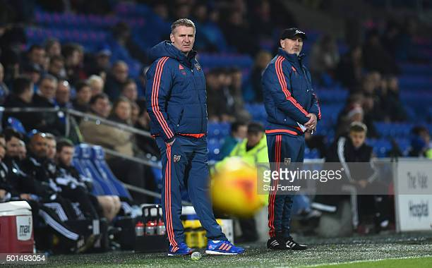 Brentford manager Dean Smith looks on during the Sky Bet Championship match between Cardiff City and Brentford at Cardiff City Stadium on December 15...