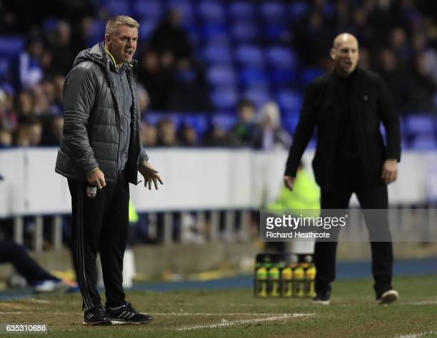 Brentford manager Dean Smith looks on during the Sky Bet Championship match between Reading and Brentford at Madejski Stadium on February 14 2017 in...