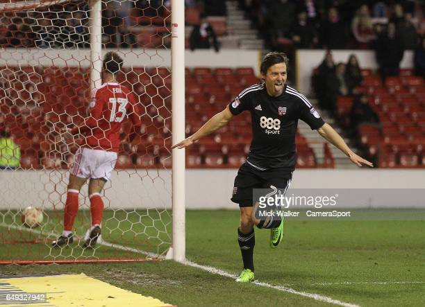 Brentford's Lasse Vibe celebrates scoring his sides second goal during the Sky Bet Championship match between Nottingham Forest and Brentford at City...