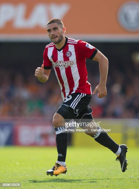 Brentford's Neal Maupay in action during the Sky Bet Championship match between Brentford and Wolverhampton Wanderers at Griffin Park on August 26...