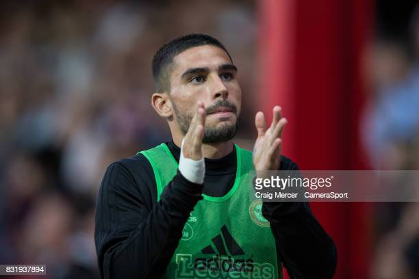 Brentford's Neal Maupay warms up during the Sky Bet Championship match between Brentford and Bristol City at Griffin Park on August 15 2017 in...