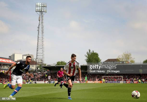 Brentford's Tom Field and Blackburn's Derrick Williams during the Sky Bet Championship match at Griffin Park London