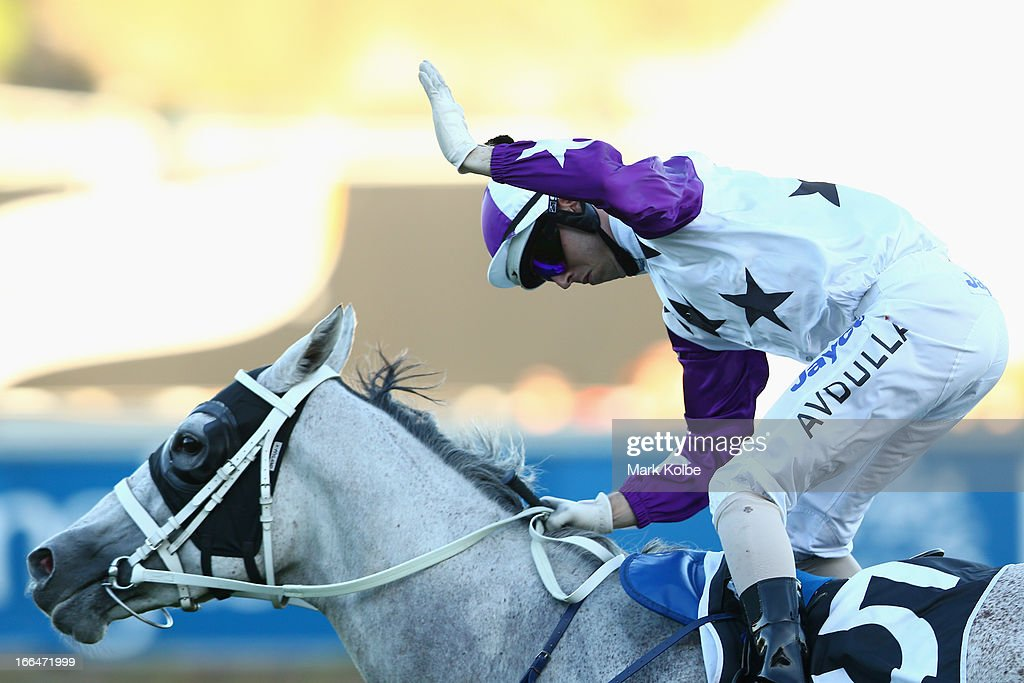 Brenton Avdulla celebrates as he rides 'Arinosa' to win race 8 the Belvedere Sapphire Stakes on Australian Derby Day at Royal Randwick Racecourse on April 13, 2013 in Sydney, Australia.