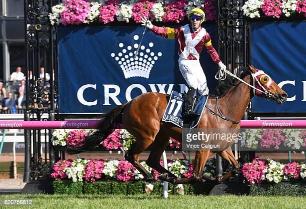 Brenton Avdulla riding Lasqueti Spirit wins Race 8 Crown Oaks on Oaks Day at Flemington Racecourse on November 3 2016 in Melbourne Australia