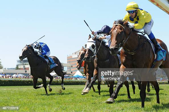 Brenton Avdulla riding Rubick defeats Damien Oliver riding Jabali and Stephen Baster riding Chivalry during Melbourne racing at Caulfield Racecourse...