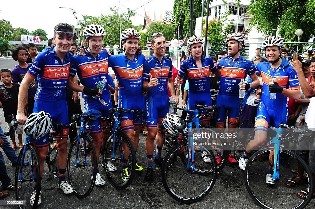 Brenton Jones of Avanti Racing Team Australia (third from left) celebrates his win during stage 9 of the 2014 Tour de Singkarak from Pesisir Selatan to Padang City with a distance of 120.5 km on June 15, 2014 in Padang, Indonesia.