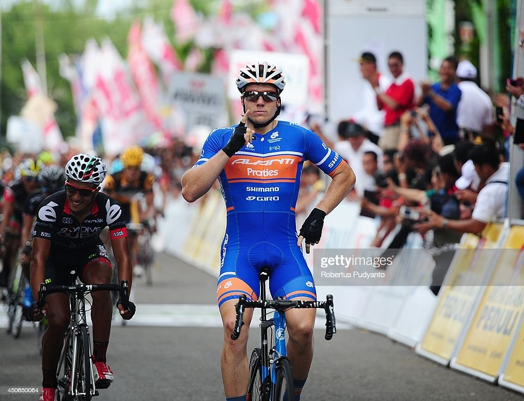 Brenton Jones of Avanti Racing Team Australia reacts as he crosses the finish line to win stage 9 during stage 9 of the 2014 Tour de Singkarak from Pesisir Selatan to Padang City with a distance of 120.5 km on June 15, 2014 in Padang, Indonesia.