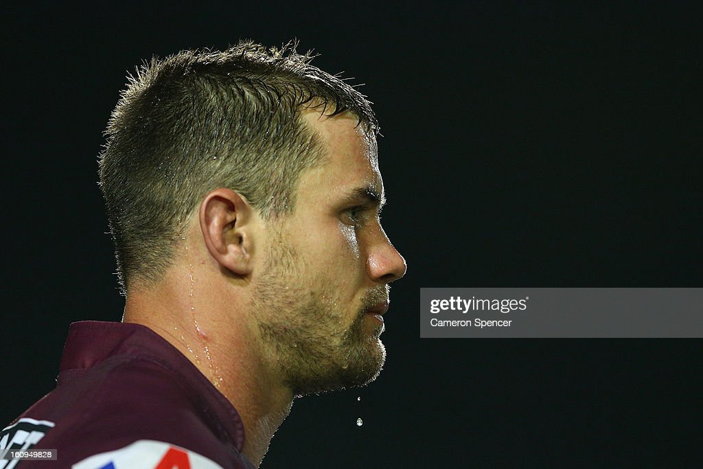 Brenton Lawrence of the Sea Eagles looks on during the NRL trial match between the Manly Sea Eagles and the Cronulla Sharks at Brookvale Oval on February 8, 2013 in Sydney, Australia.