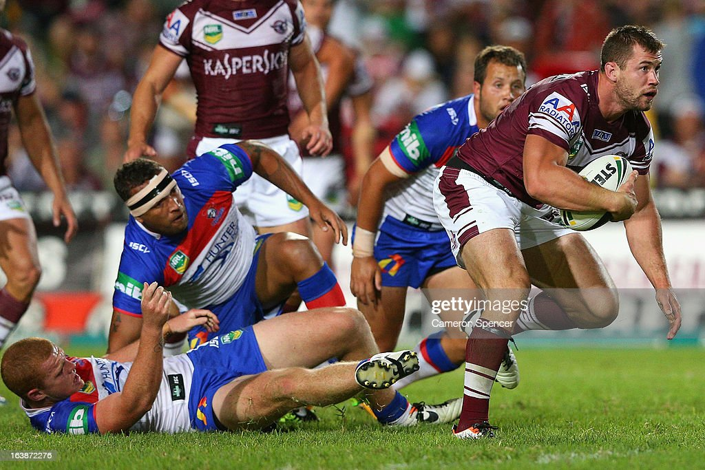 Brenton Lawrence of the Sea Eagles makes a break during the round two NRL match between the Manly Sea Eagles and the Newcastle Knights at Brookvale Oval on March 17, 2013 in Sydney, Australia.